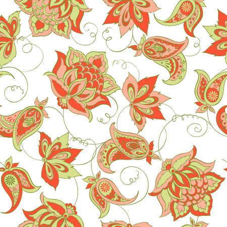 Floral Paisley Pattern. Seamless Asian Textile Background Çizim