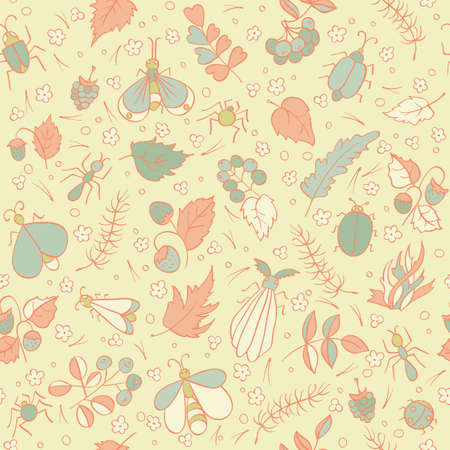 ant leaf: Colorful doodles Beetles Ants Butterflies Berries foliage and needles. Forest seamless pattern. Kids vector illustration