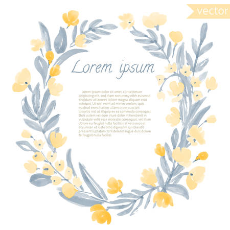 Watercolor Vintage Leaf and Flowers round frame. Vector illustration of hand drawn natural wreath for invitation cards, save the date, wedding card design.