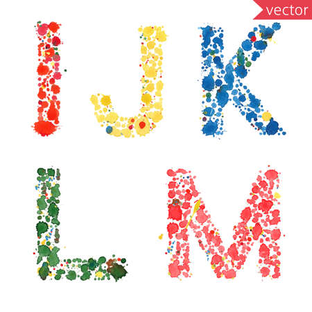 l: decorative letters I, J, K, L, M made from colorful drops and blots
