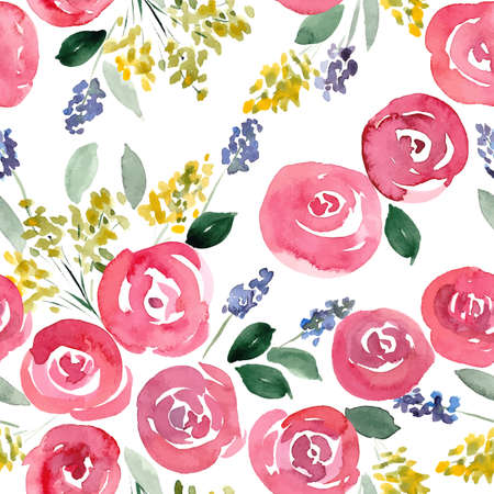 hand drawn watercolor roses seamless pattern. vector illustration for cards, invitations, wrapping