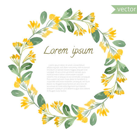 Hand painted watercolor floral round frame. Vector illustration of natural wreath for invitation cards, save the date, wedding card design.
