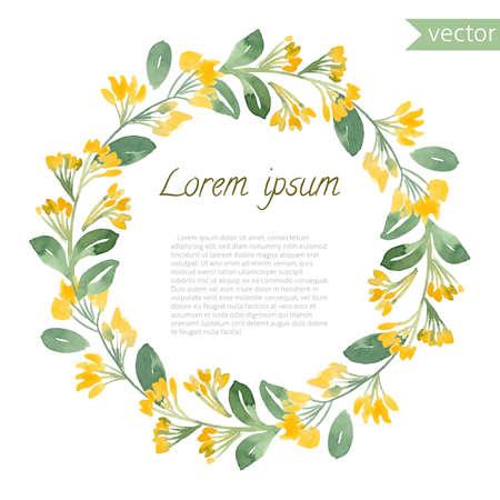 Handgeschilderde aquarel bloemen rond frame. Vector illustratie van natuurlijke krans voor uitnodigingskaarten, sparen de datum, trouwkaart ontwerp.