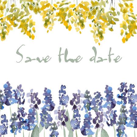 date: Speichern Sie die Datums-Einladung mit Aquarellblumen. Vektor Aquarell Blumenhochzeit Einladung. Illustration
