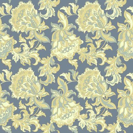 batik: ethnic floral seamless pattern. folkloric batik vector ornament.