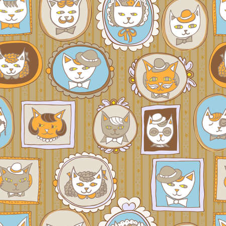 pets background: cute cats retro portraits seamless pattern. vintage vector pets  background