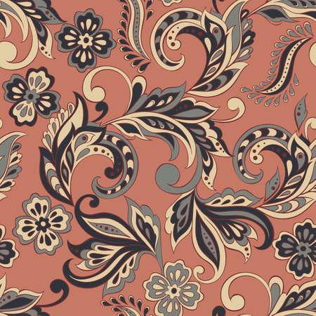 seamless cinque fleurs dans le style indien. fond floral