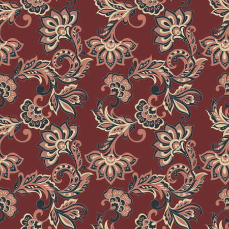 seamless pattern with indian style flowers. floral background Illustration