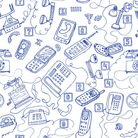 phone booth: hand drawn telephones seamless pattern.