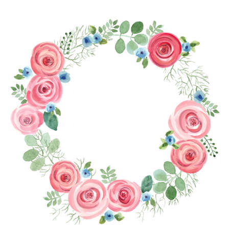 Watercolor Leaf and Roses round frame. Vector illustration of hand drawn natural wreath for invitation cards, save the date, wedding card design. 向量圖像