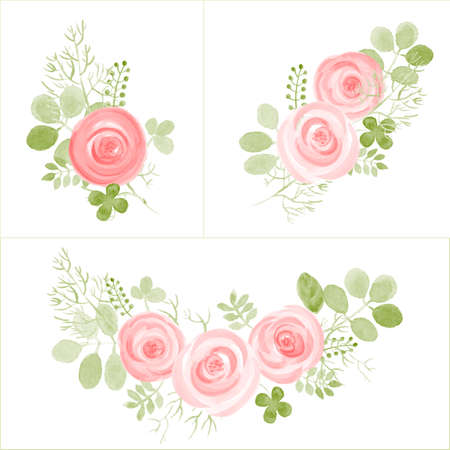 Hand Drawn cute Roses and Leaf composition for your design. Can be used for birthday card, wedding invitations or page decoration. Isolated on white background.