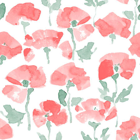 Watercolor Poppy seamless Pattern. Hand Drawn Vector Illustration
