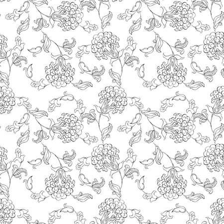 batik: ethnic flowers seamless vector pattern Illustration