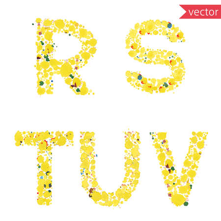 u s: decorative letters R, S, T, U, V, made from colorful drops and blots