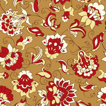 vintage floral pattern: elegance seamless pattern with ethnic flowers, floral illustration in vintage style