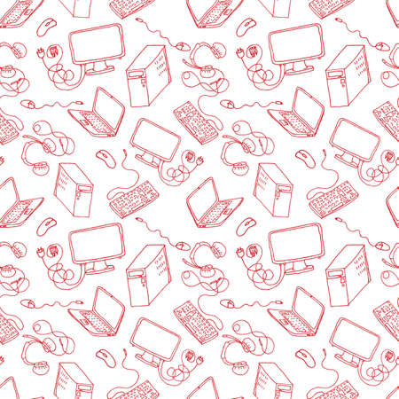 handheld device: seamless pattern of hand drawn doodles of electronic gadgets. Computer, laptop, monitor