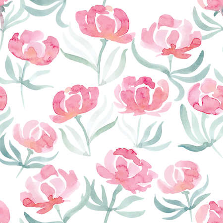 peonies: watercolor peonies seamless pattern. Background for web pages, wedding invitations, save the date cards. Illustration