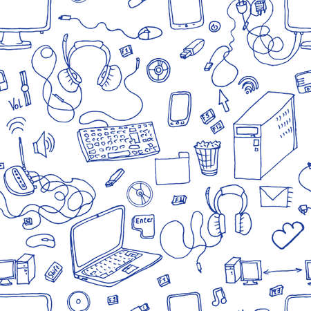 audio electronics: seamless pattern of hand drawn doodles of electronic gadgets. Computer, laptop, monitor