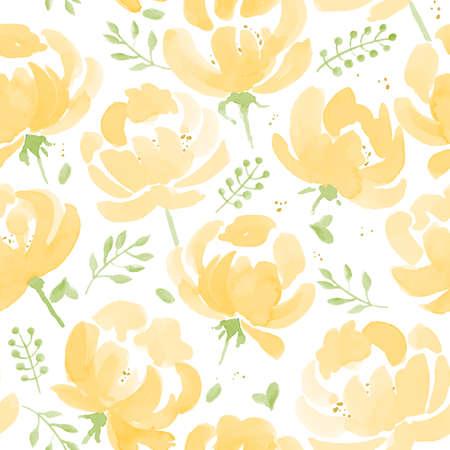 peonies: Watercolor Peonies seamless fabric pattern. Hand Drawn Vector Illustration Illustration