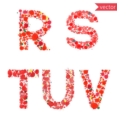 u s a: decorative letters R, S, T, U, V, made from colorful drops and blots