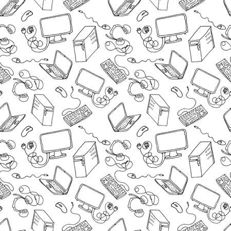 clipart speaker: A vector seamless pattern of hand drawn doodles of electronic gadgets. Computer, laptop, monitor