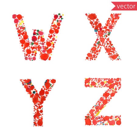 decorative letters: decorative letters W, X, Y, Z,  made from colorful drops and blots