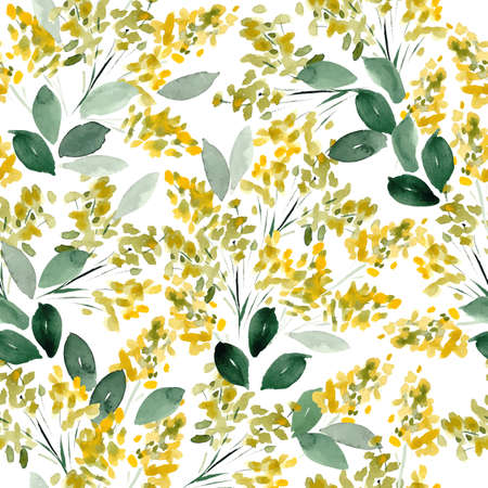 fabric art: Watercolor flowers colorful seamless pattern. Vector illustration Illustration