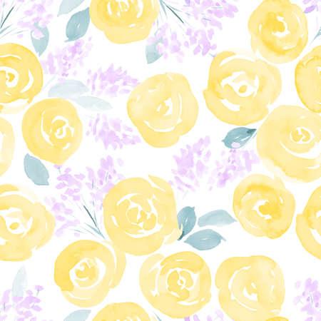 dibujado a mano rosas de la acuarela y las pequeñas flores lindas sin patrón. ilustración vectorial