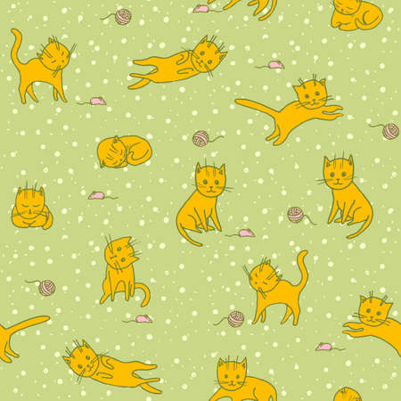 pets background: Cute Playng Cats Seamless Pattern. Pets  Background. Vector Illustration