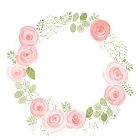 Marco redondo de acuarela hoja y rosas. Ilustración de vector de guirnalda natural dibujada a mano para tarjetas de invitación, guardar la fecha, diseño de tarjeta de boda. Ilustración de vector
