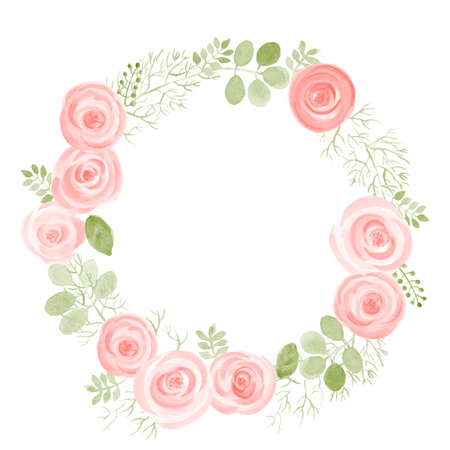 Watercolor Leaf and Roses round frame. Vector illustration of hand drawn natural wreath for invitation cards, save the date, wedding card design. Stock Illustratie