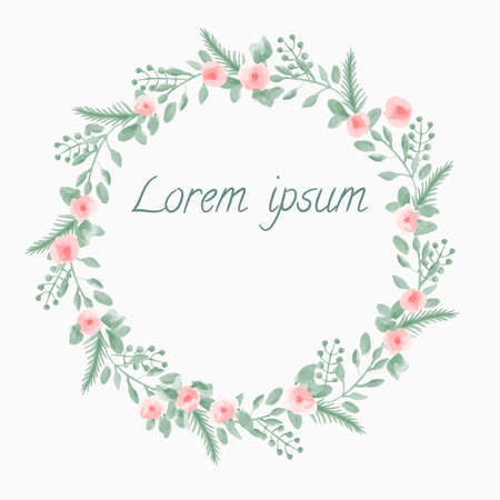 Watercolor Leaf and Flowers round frame. Vector illustration of hand drawn natural wreath for invitation cards, save the date, wedding card design. Illustration