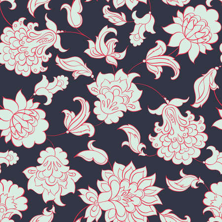 underlying: floral ethnic seamless pattern in batik style