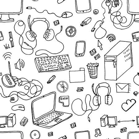 the patterns: A vector seamless pattern of hand drawn doodles of electronic gadgets. Computer, laptop, monitor