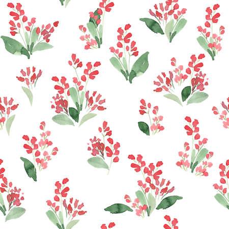 feminine floral flower: Watercolor flowers colorful seamless pattern. Vector illustration Illustration