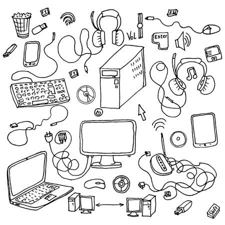 electronic gadget: a set of hand drawn doodles of electronic gadget. vector illustration