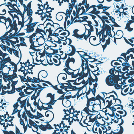 batik pattern: Asian flowers seamless pattern. Floral vector background. Illustration