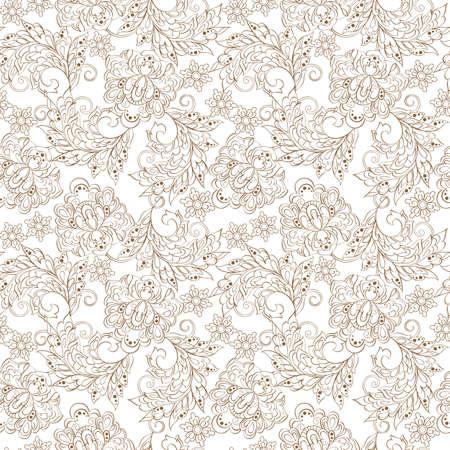 batik pattern: Floral Pattern in Indian Batik Style Illustration