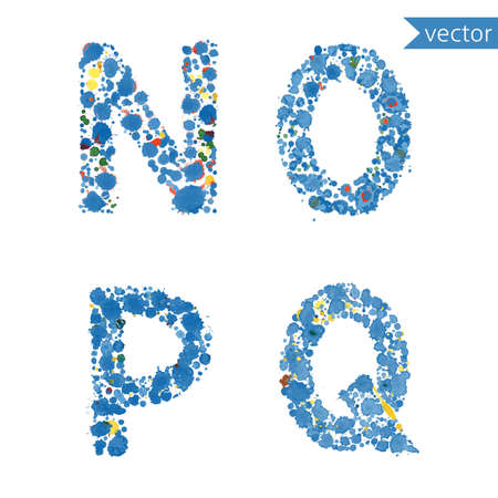 writing a letter: decorative letters N, O, P, Q  made from colorful drops and blots Illustration