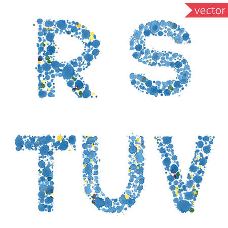 lettre alphabet: decorative letters R, S, T, U, V, made from colorful drops and blots