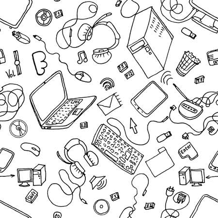electronics icons: A vector seamless pattern of hand drawn doodles of electronic gadgets. Computer, laptop, monitor