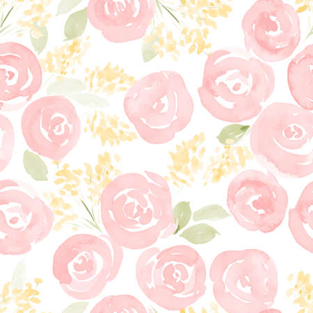 green floral: hand drawn watercolor roses and cute little flowers seamless pattern. vector illustration Illustration