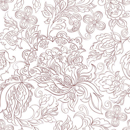 folkloric: folkloric flowers seamless pattern. ethnic floral vector ornament