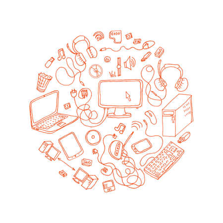 electronic gadget: a set of hand drawn doodles of electronic gadget Illustration