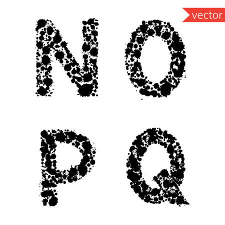 decorative letters N, O, P, Q  made from  drops and blots Illustration
