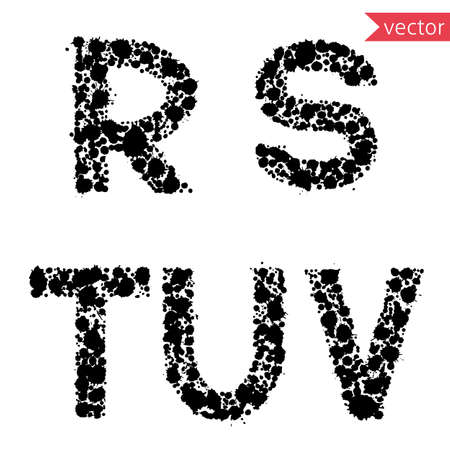 u s a: decorative letters R, S, T, U, V, made from  drops and blots