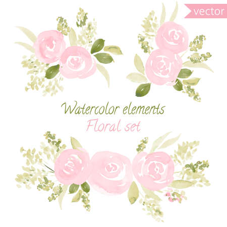 A set of watercolor roses flowers and leaf. collection with leaves and flowers, hand drawing. Can be used for design for invitation, wedding or greeting cards