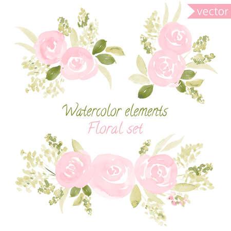 Ein Satz Aquarellrosenblumen und -blatt. Sammlung mit Blättern und Blumen, Handzeichnung. Kann für Design für Einladung, Hochzeit oder Grußkarten verwendet werden