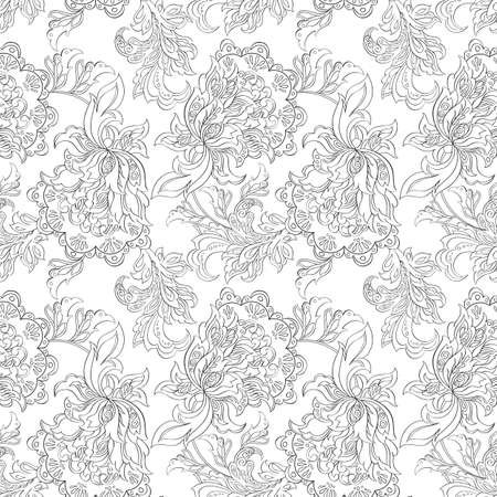 retro background: ethnic floral seamless pattern. folkloric batik ornament.