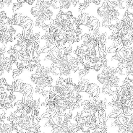 ethnic floral seamless pattern. folkloric batik ornament.
